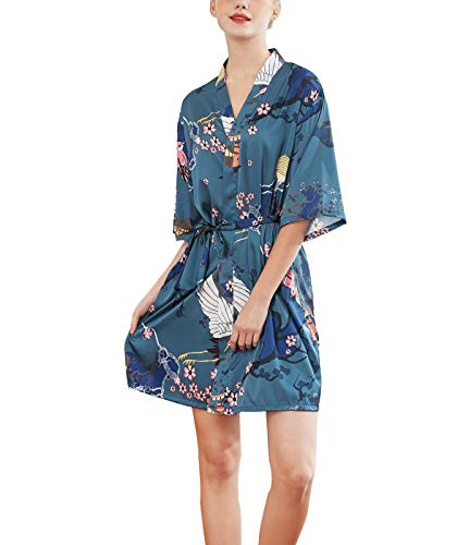 SexyTown Women's Kimono Robe Silk Robes for Brides and Bridemaid Wedding Party Gift Short Style Medium A001