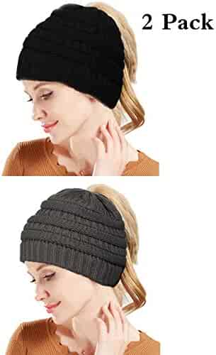 e8b95eca290 LOYALLOOK Cable Knit Bun Hole Beanies Ponytail Hat for Women Soft Messy Bun  Trucker Winter Hat