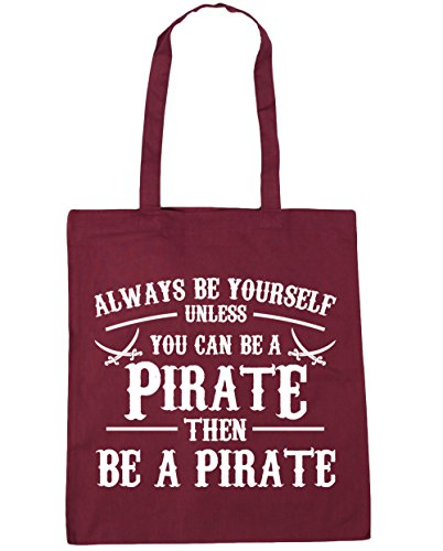 HippoWarehouse Always be du selbst es sei denn you can't Be a Piraten Einkaufstasche Fitnessstudio Strandtasche 42cm x38cm, 10 liter - Weinrot, One size