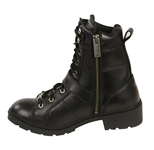 Black 5 Boot Side Leather Buckle Round Women's Black To Lace Milwaukee Toe 7 aCTx4qwC7