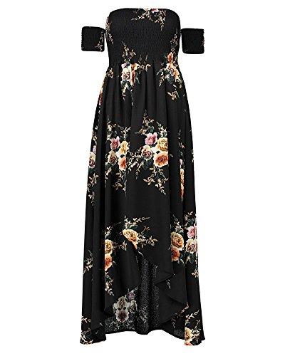 Estampado Floral Sin Tirantes Mujer Bohemia Tunic Swing Maxi Vestido Negro