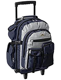 Everest Deluxe Wheeled Backpack, Navy/Gray/Black, One Size