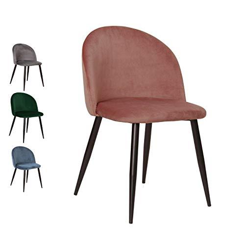 Nimara - Silla de Terciopelo en diseño escandinavo, sillas de Comedor y sillas de Cocina para la Mesa de Comedor, de Tela, en Color Rosa, Gris, Verde ...