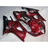 Red w/Black Flame Fairing Bodywork Injection Cowl kit for 2003-2004 Suzuki GSXR 1000