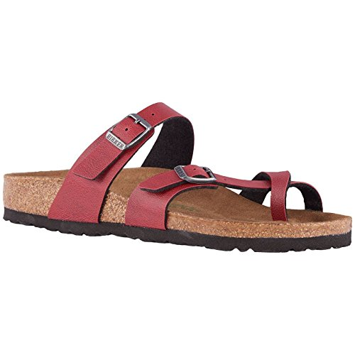 Birkenstock Women's Vegan Mayari Bordeaux Pull Up Birko-Flor Sandal 38 (US Women's 7-7.5) by Birkenstock