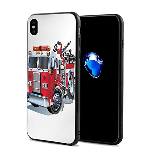 Phone Case Cover Compatible with iPhone X XS,Fire Brigade Vehicle Emergency Aid for Public Firefighter Transportation Themed Lorry,Compatible with iPhone X/XS 5.8