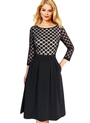 VfEmage Women's 1950'S Style Polka Dot 3/4 Sleeve Party Swing A-Line Dress 9055 Apt - Different Styles List Clothing