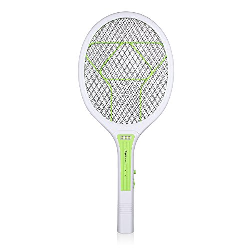 Trapro Electronic Bug Zapper Racket Fly Swatter for Mosquito Wasp and Other Flies, USB Charging / 3000 Volt / Ultra-Bright LED / Unique 3-Layer Safety Mesh … (Green)