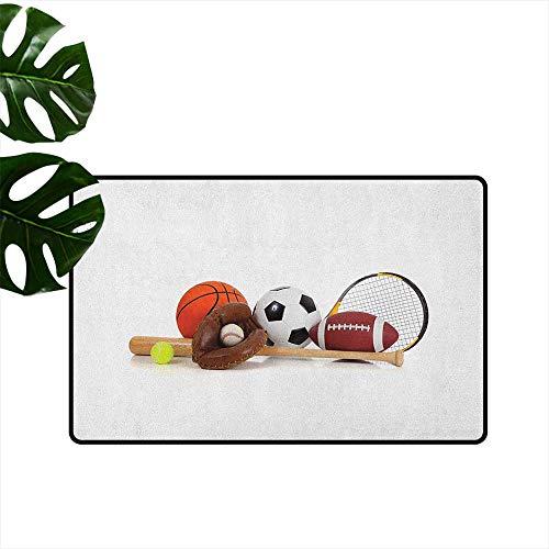 - Youth,Door mats Assorted Sports Equipment Different Balls Bat Tennis Racket Baseball Glove on White 16