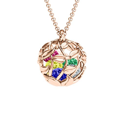 (14K Rose Gold Lucious Leaf Cage Pendant With Personalized Birthstones by)
