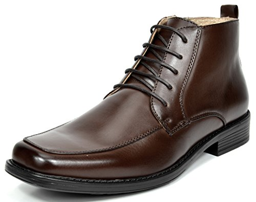 BRUNO MARC MODA ITALY YORK-1 Men's Classic Dress Casual Faux Leather Lace Up/Zip up Square Toe Ankle High Boots DARK BROWN SIZE 9