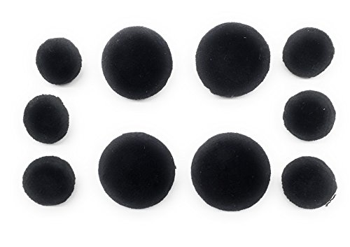 Velvet Button Black - 10 Black Velvet Buttons Set ~Full Ball Style , Blazer , Dresses, Sport coat~.