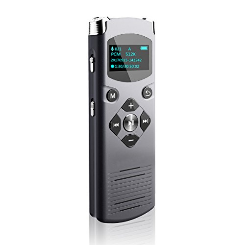 Voice Recorder 8GB Digital Audio Sound Dictaphone HD Stereo Recorder by Cookan Voice Activated, Noise Reduction, Variable Speed Playback, Line-in Recorder with MP3 Player, Dual Microphone, USB Type-C