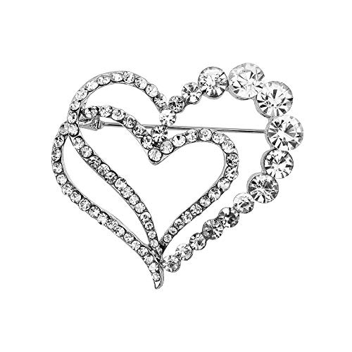 - WLLAY Double Heart Brooch for Women Cluster Micro Pave Clear Austrian Crystal Love Heart Brooch Pin