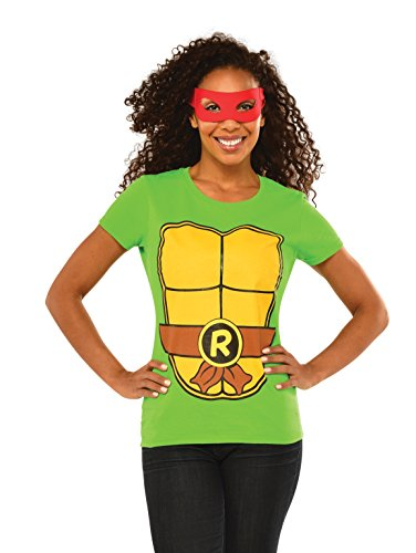 Tmnt Costumes Womens (Rubie's Costume Teenage Mutant Ninja Turtles Top With Mask and Raphael, Green, Small)