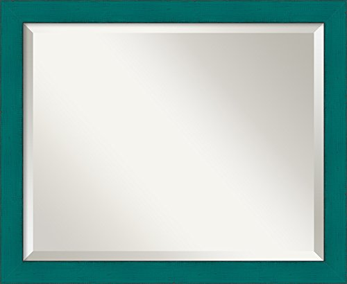 Wall Mirror Medium, French Teal Rustic Wood: Outer Size 22 x - Teal Mirror