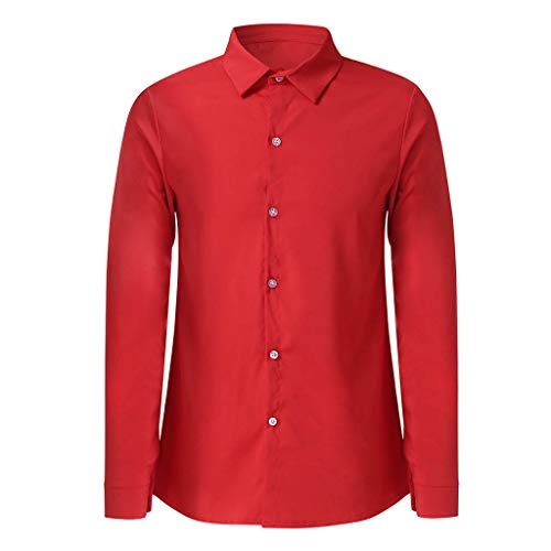 IAMUP Men Casual Solid T Shirts Design Buttons Mountain Outdoor Shirt Long Sleeve Jacket Use Top Workwear Blouse Red
