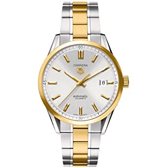 21457a53033d Image Unavailable. Image not available for. Color  Tag Heuer Carrera Silver  Dial 18kt Yellow Gold and Stainless Steel Mens Watch ...