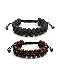 Top Plaza Men Women 8mm Lava Rock Tiger Eye Stone Aromatherapy Essential Oil Diffuser Bracelet Braided Rope Natural Stone Yoga Beads Bracelets Bangle