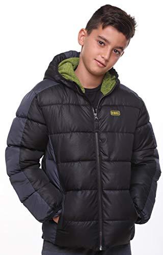 Hawke Winter Jacket for Boys Co; Waterproof; Fleece Hooded; Lightweight Puffer; Black or Navy