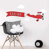 Personalised Aeroplane Banner Clouds Wall Art Sticker Girls Boys Unisex Baby Nursery Bedroom Any Name Text Initial Monogram Kids Childrens Custom Decal Mural Vinyl Room Decor