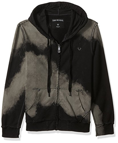 True Religion Men's Raw Edge Zip Hoodie, Black, M - Edge Mens Hooded Zip Sweatshirt
