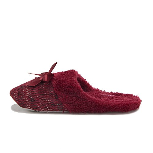 Womens 1343A Slip On Faux Fur Indoor House Shoes Slippers Moccasins Red KVxPyf7UWR