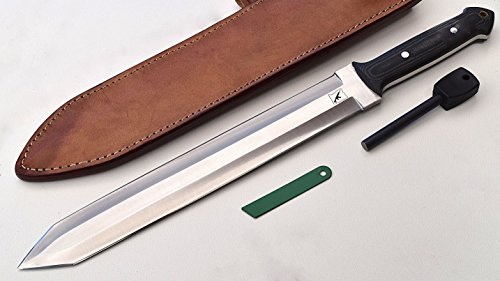 Custom Knives Swords (CFK Cutlery Company IPAK Custom Handmade VIKING SHORT SWORD DAGGER D2 Tool Steel Tactical Combat Knife with Leather Sheath & Fire Starter Rod CFK51)