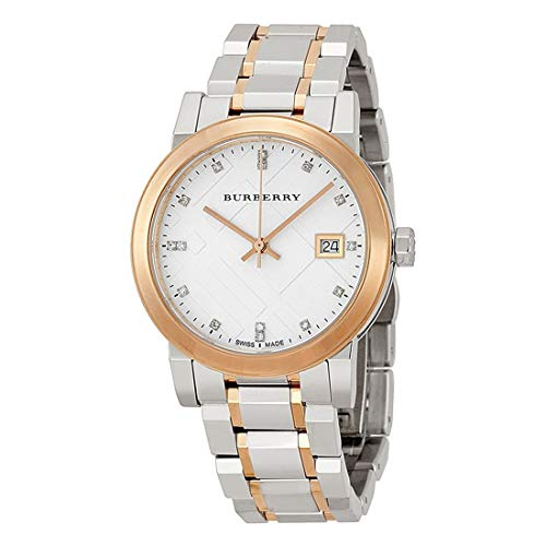 Amazon.com: Burberry Plata Dial Bicolor Damas Reloj bu9127 ...