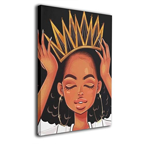Black Hippie African American Women Girl with Crown Picture Canvas Wall Art for Home Decorations Modern Stretched and Framed Giclee Artwork Gallery Wrapped Ready to Hang 16 X 20