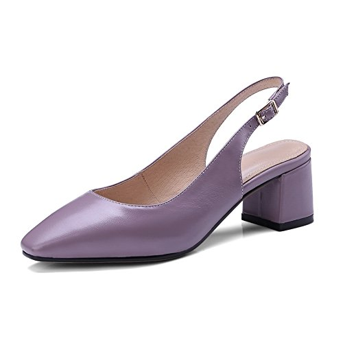 AN Womens Hollow Out Chunky Heels Pointed-Toe Leather Sandals DIU00592 Purple 4ryaEqUWU
