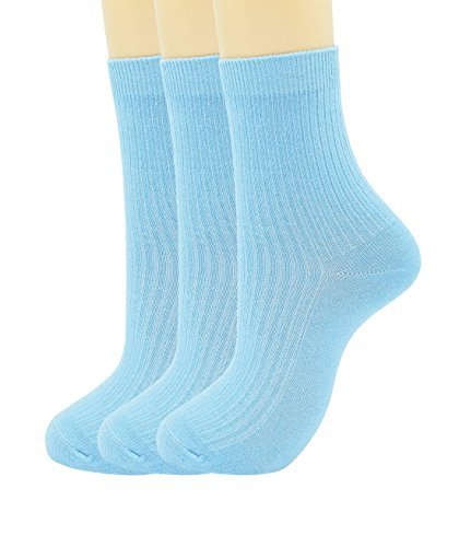 Woman double needle delicate cotton socks (3-pairs-Light blue) ()