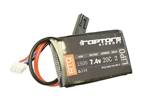 (RTQ Raptors Airsoft 7.4v 1500 mAh 20C Airsoft LiPO PEQ Box)