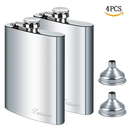 Stainless Steel Flask Funnel Set, Tatuer 2pc 8 oz Whiskey Flask Vodka Alcohol Flask, Hip Flask, Flask For Men, Flask with 2 Funnel For Ski Travel Climbing Fishing Camping 227ml Silver (8 oz) by Tatuer