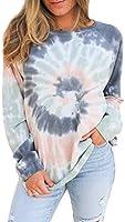 FARYSAYS Women's Casual Color Block Tie Dye Crewneck Long Sleeve Loose Pullover Sweatshirt Tops