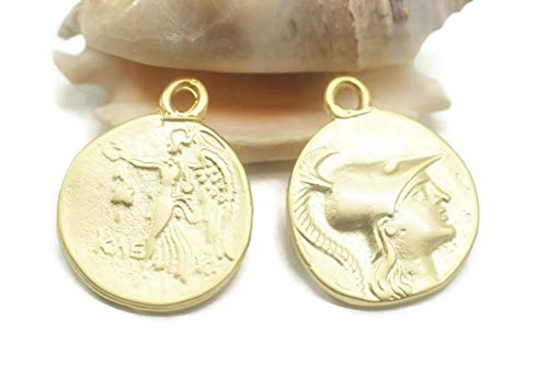 Golden Horn Jewelry Supplies Matt Gold Plated Coin Necklace, 24x30 mm Gold Pendant, Double Side Charms, Roman Pendants, Medallion Pendant, Caesar Coins, Gold Coins, NO Chain