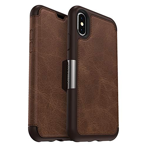 OtterBox STRADA SERIES Case for iPhone Xs & iPhone X - Retail Packaging - ESPRESSO (DARK BROWN/WORN BROWN LEATHER)