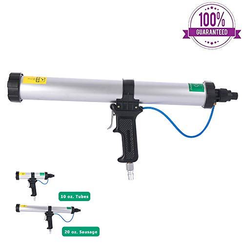 BIDE Pneumatic Caulking Gun 20 oz Sausage Aluminum Cylinder 600 ml (20 oz Air Caulk Gun)