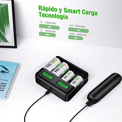 EBL LCD Cargador de Pilas con 2 x Pilas C y 2 x Pilas D, Cargador de batería para AA/AAA/C/D Ni-MH, Universal Carga Rápida con Tipo C/Micro USB, 8 Ranuras Independientes