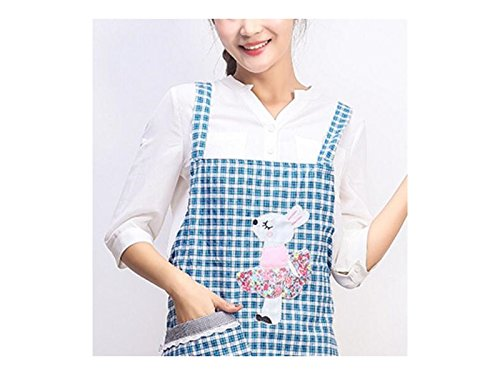 Gelaiken Perfect Cartoon Classic Lattice Animal Rabbit Printed Apron Sleeveless Household Apron Pocket(Green)