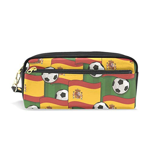 SKYDA Spain Football Pattern PU Leather Pencil Case Pen Bag Makeup Cosmetic Bag Stationery Pouch Case