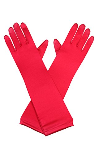 [Elegant Stretch Satin Long Fabric Gloves - Elbow Length - Size: 15