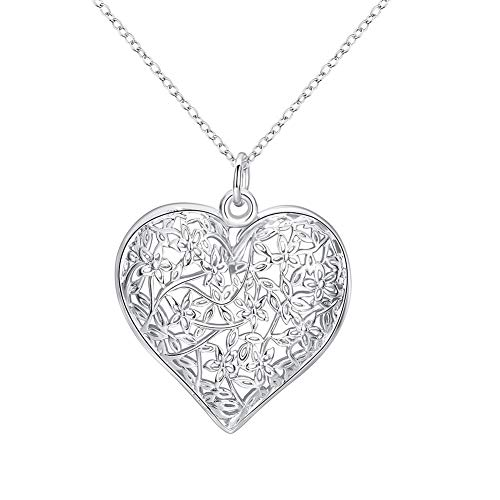 - Cutesmile Fashion Jewelry 925 Sterling Silver Hollow Pattern Textured Puffed Heart Pendant Necklace