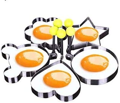 5Pcs Fried Egg Non Stick Stainless Steel Pancake Ring Mold Cooking Kitchen Tools