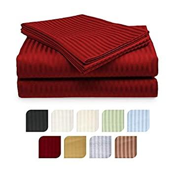 Crystal Trading 4-Piece Bed Sheet Set - Dobby Stripe - Microfiber - (Queen, Burgundy)