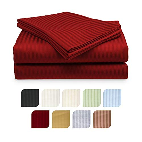 (Crystal Trading 4-Piece Bed Sheet Set - Dobby Stripe - 100% Cotton Sateen - 300 Thread Count (Queen, Burgundy))