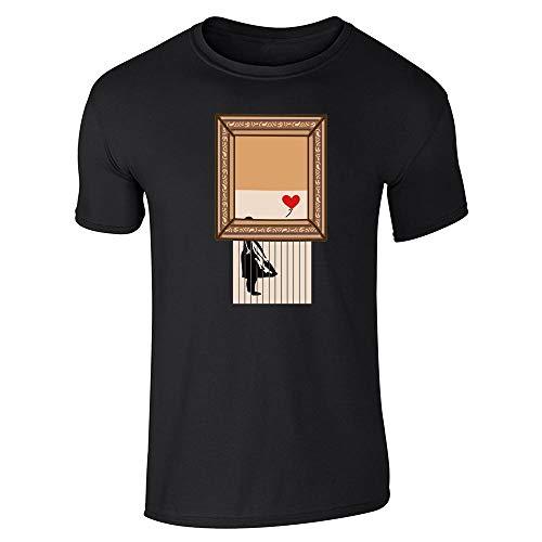 Shredded Banksy Girl with Balloon Funny Art Black XL Short Sleeve T-Shirt