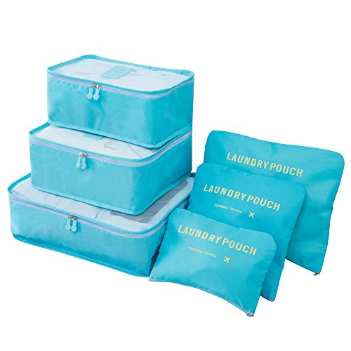Travistar Packing Cubes set 6 Piece Compression Pouches Travel Pack Organizers for Luggage