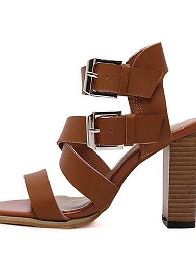 Casual cn39 brown eu39 us8 uk6 brown black Zapatos cn39 de cn39 PU mujer us8 eu39 Negro Robusto Tacones Tac¨®n us8 uk6 Marr¨®n eu39 uk6 Tacones ZQ 047waUa