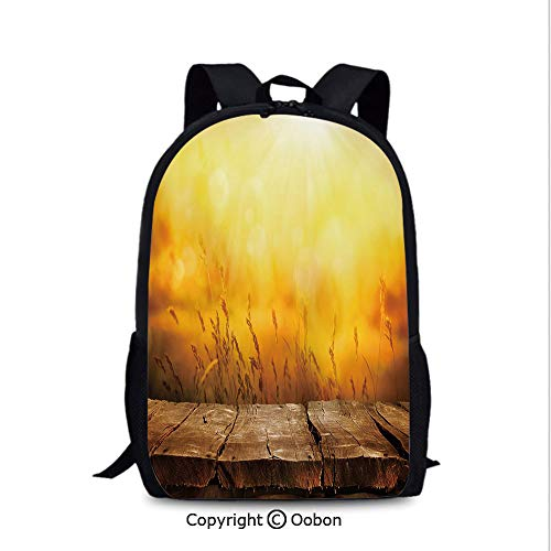 Soft Comfortable Backpack, Empty Wooden Tabletop Layout Setting Sun Afternoon Wheat Agriculture, School Bag :Suitable for Men and Women, School, Travel, Daily use, etc.Brown Orange Yellow (The Setting Sun And The Rolling World)